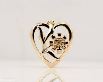 Vintage USN United States Navy Sweet Heart Gold Tone 10k Pendant Necklace Flower