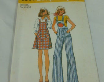 6569 Simplicity Contains Two Sizes 5/6 & 7/8 Pattern Young Junior Teens Short Jumper and Overalls Vintage 1974 Pattern Uncut
