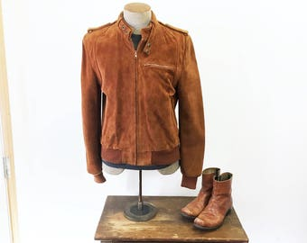 1980s BERMAN'S Suede Leather Cafe Racer Leather Jacket Men's Vintage Chestnut Brown Members Only Style Leather Jacket - Size MEDIUM