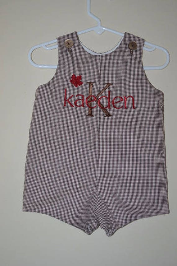 Personalized Brown Gingham Fall Shortall with Maple Leaf
