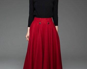 maxi skirt, red skirt, wool full skirt, winter skirt, fit and flare skirt, pleated skirt, womens skirts, button skirt, plus size skirt C759