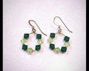 Sterling Silver Green Swarovski Loop Earrings