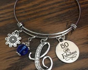 50th BIRTHDAY GIFT,  50 and fabulous, womens birthday Jewelry, Initial Jewelry, birthstone Bracelet, Gifts for friend milestone birthday