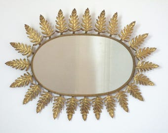 Very Large Spanish Mid Century SUNBURST Metallic Mirror - Oak Leaf Rays -  The Ultimate Design Statement - Vintage Decor