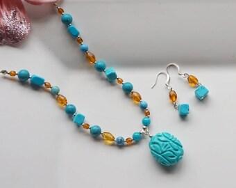 Turquoise Necklace Set, Women's Necklace Set, Blue Necklace Set. Pendant Necklace