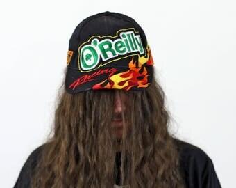 Vintage NASCAR O'Reilly Auto Parts Racing Flames Hat Cap Snapback