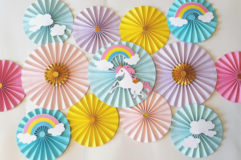 Unicorn Themed Unicorn Paper Fans Unicorn Backdrop Rainbow
