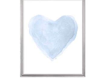 Pale Blue Nursery Print, 8x10 Heart Print, Blue Nursery Art, Baby's Room Decor, Pastel Blue Decor, Blue Baby Prints, Pale Blue Heart Print