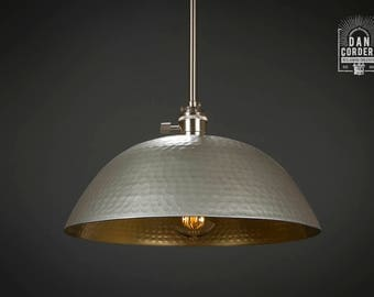 Hammered Shade | Gold & Brushed Nickel l Pendant Light Fixture | Kitchen Light | Light Fixture | Pendant Light | Large Hammered