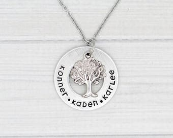 Custom Family Tree Name Necklace