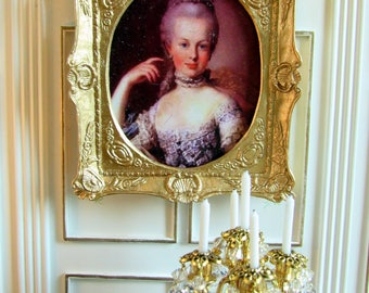 """1:12th Scale ~ Dolls House Miniature Painting ~ 18th Century Portrait ~ """"Marie Antionette"""" in Gilded Swept Frame ~ French Decor"""