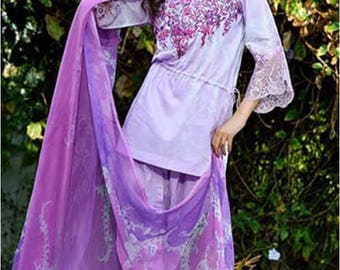 Nilofer Shahid, lawn clothes, pakistani clothes, original, purple/lilac salwar