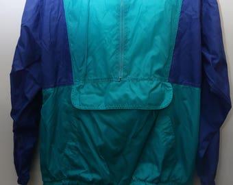 "Rare 90's Vintage ""SEATTLE BLUES"" Colorblocked Windbreaker Pullover Jacket Sz: X-LARGE (Men's Exclusive)"
