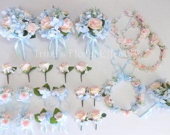 Light blue bouquet   Etsy