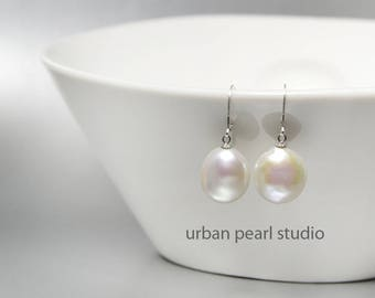 Baroque Pearl Earrings Coin Pearl Bridal Jewelry Simple Pearl Drop Earrings Lever Back Ear Wires