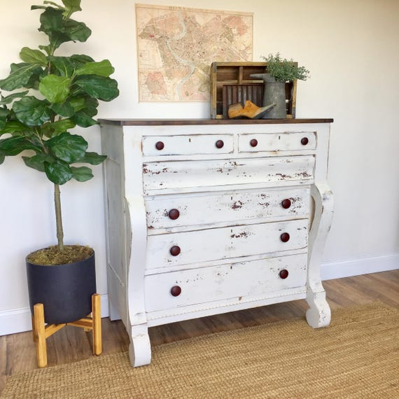 Farmhouse Dresser - Antique Chest of Drawers, American Empire - Large Dresser - Unique Bedroom Furniture - Distressed Dresser - White Chest