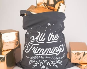 Christmas Sack - All the Trimmings Tote Bag - alternative sack, gift bag, christmas bag, stocking, xmas present, shopping bag