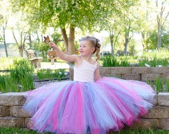 Full length Cotton Candy tutu skirt. Long tutu. Pink, blue and purple