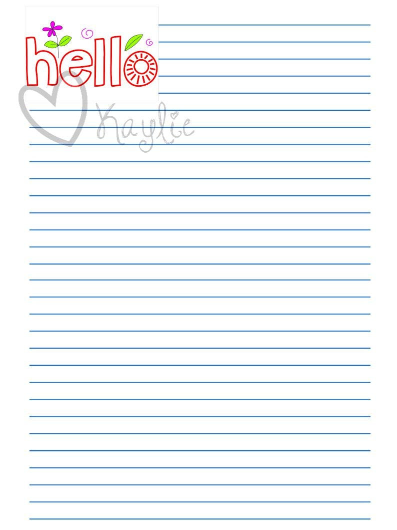 Printable Stationery Set Letter Writing Paper Hello Flowers