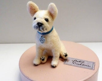 Palm-size Felted French Bulldog puppy