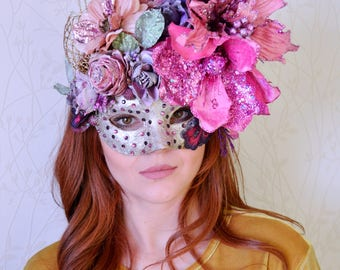 Pink flower mask, Couture masquerade mask, Mardi Gras Mask, Glitter mask, Masquerade ball, Costume party, Halloween mask, Fairy mask, Sequin