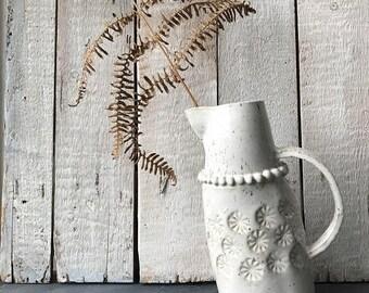 QUIRKY JUG - white jug, leaning jug,  decorated jug, one of a kind jug, speckled jug, rustic white jug, rustic jug, rustic romantic jug