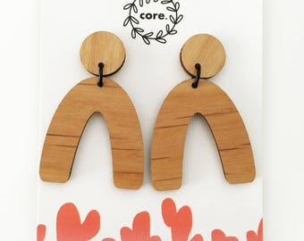 Hill Top arched earrings laser cut wood