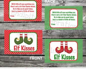 Instant Download, Elf Kisses Bag Topper, Elf Kisses Christmas Treat Bag Topper, Candy Kisses Label, Elf candy label, Christmas, Elf tag