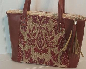 Burgundy vinyl everyday tote shoulder bag