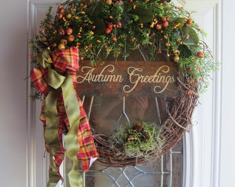 Fall wreath - Autumn Wreath - Welcome Wreath - Rustic Wreath    - Fall Door Wreath - Country Welcome Wreath