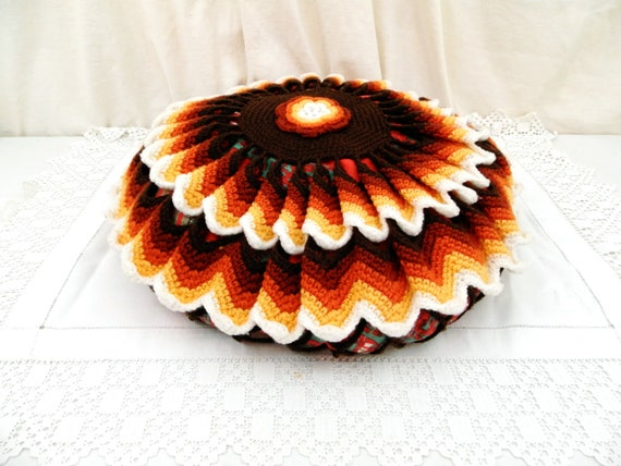 Vintage 1960s Large Round Decorative Pillow Crochet Cover, Midcentury 70s Home Decor Woollen Cushion Cover, French Handmade Pillowcase