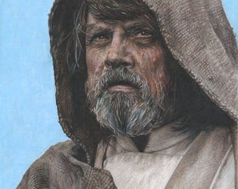 Full Color Drawing Print of Colored Pencil Drawing of Mark Hamill as Luke Skywalker from Star Wars: The Last Jedi (8.5 x 11)
