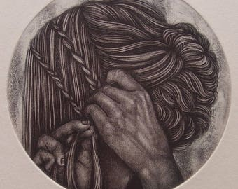 Tress II - tiny unframed mezzotint/etching original intaglio print by Carrie Lingscheit