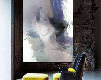 Contemporary Art Oil Painting, Original Nude Painting, Extra large Wall Art Naked Woman