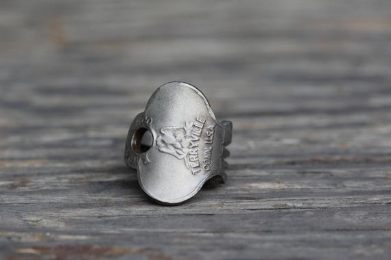 Unique ring made from a vintage key! - Golden Eagle - Size 7 - Unique - Repurposed - Upcycled - Powder Coated Brass - Lock - Padlock