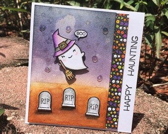 Happy Haunting Halloween Card , Hand Stamped Card Handmade, Cute Image Cards, Whimsy Cards, Greeting Cards Hand Made gift