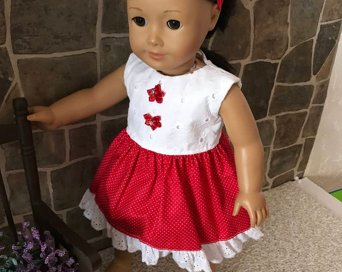 "End of Summer Sale!!! White and Red Dress made to fit 18"" dolls FREE SHIPPING"