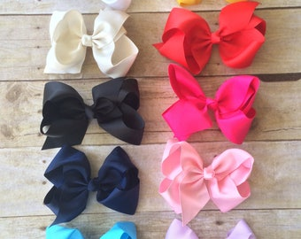 """SET of 10 4"""" Bows, Medium grosgrain hair bows clips, Large pack of girls hairbows"""