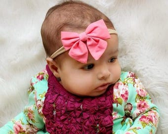 Coral Nylon bow, headband set 1 size fits all, comfy baby newborn girls hair, bow