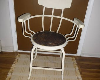 antique wrought strap iron and wood shoeshine stand chair rugged rare comfortable w