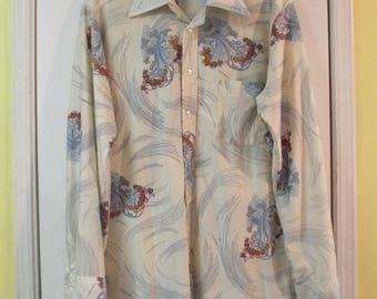 Men's Vintage 70s Disco Floral Nylon Shirt