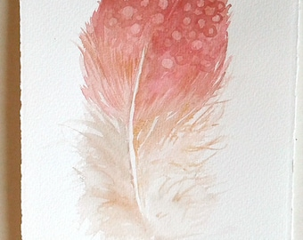 Watercolor Feather painting, Pale pink feather with golden threads, Feather illustration, Rakla painting, Minimalist art, Home gallery