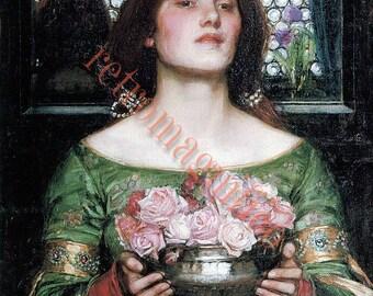 1908 Waterhouse painting Gather Ye Rosebuds vintage image digital download for art print, scrapbooking, mixed media, altered art,