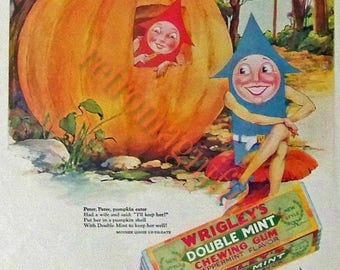 Peter Pumpkin Eater chewing gum ad vintage image digital download for art print, scrapbooking, mixed media, altered art,