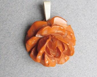 Genuine Vintage Carved Butterscotch BAKELITE Rose Pendant for Necklace
