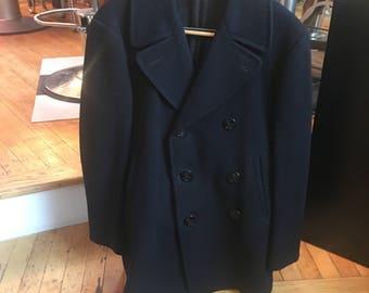 Vintage 1949 Men's Wool Navy Pea Coat Navy Issued