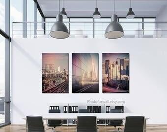 New York Photography, Luxury wall decor, business wall decor set of 3 canvas art, large wall art, office wall decor, World Trade