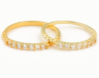 Gold Midi Ring • Gold Stacking Ring • Gold Band Ring • Thin Ring • Pinky Ring • Wedding Band • Cz Band • Gold Ring | 0040RM