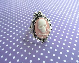 Pink Skull Bow Cameo Ring- Kawaii- Punk- Sweet Lolita- Gothic Lolita- Pastel Goth- Harajuku