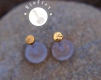 Hammered Monroe Stud - Monroe Piercing Stud - Gold Monroe Piercing Jewelry - 16 Guage Monroe - Monroe Stud Gold - 16 Gauge for Monroe